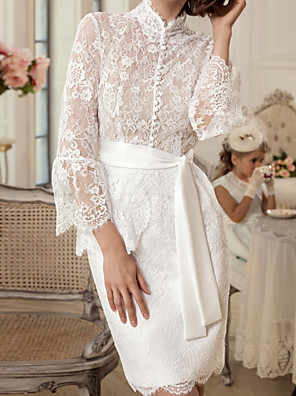 cheap Prom Dresses-Sheath / Column Mother of the Bride Dress Elegant Vintage Queen Anne Knee Length Chiffon Lace Long Sleeve with Sash / Ribbon Embroidery 2020