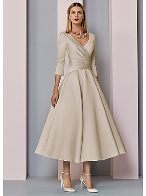 cheap Mother of the Bride Dresses-A-Line Mother of the Bride Dress Elegant Vintage Plus Size V Neck Tea Length Satin 3/4 Length Sleeve with Pleats 2020