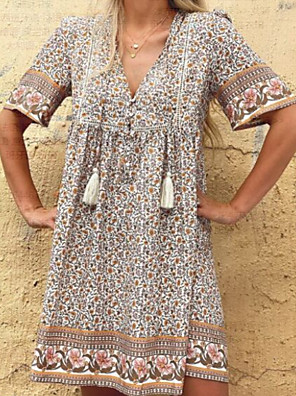 cheap Maxi Dresses-Women's A-Line Dress Knee Length Dress - Short Sleeves Floral Summer Casual 2020 Light Brown S M L XL XXL XXXL