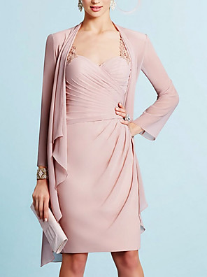 cheap Mother of the Bride Dresses-Two Piece Sheath / Column Mother of the Bride Dress Elegant Sweetheart Neckline Knee Length Chiffon Long Sleeve with Embroidery Ruching 2020