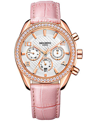 cheap Quartz Watches-Women's Mechanical Watch Automatic self-winding Stylish Glitter Elegant Water Resistant / Waterproof Genuine Leather Analog - White Red Blushing Pink
