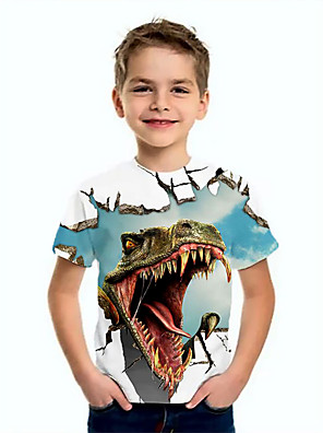 cheap Boys' Tops-Kids Boys' Basic Dinosaur Animal Print Short Sleeve Tee Blue