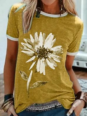 cheap Women's T-shirts-Women's T-shirt Graphic Round Neck Tops Loose Cotton Summer Purple Yellow Green