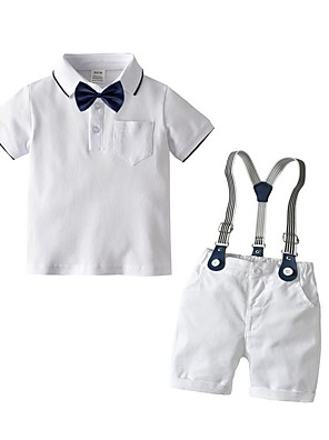 cheap Boys' Clothing Sets-Kids Boys' Basic Solid Colored Short Sleeve Clothing Set White