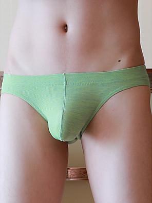 cheap Men's Exotic Underwear-Men's Basic Briefs Underwear - Normal Low Waist Purple Light Green M L XL
