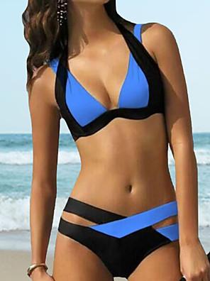 economico Bikinis-Per donna Bikini Costume da bagno Sostegno e protezioni Monocolore Costumi da bagno Costumi da bagno Bianco Blu Viola Rosa
