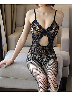 cheap Sexy Bodies-Women's Lace Backless Cut Out Bodysuits Nightwear Jacquard Solid Colored Black One-Size