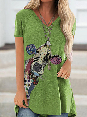Χαμηλού Κόστους Για νεαρές γυναίκες-Γυναικεία T-shirt Κινούμενα σχέδια Λαιμόκοψη V Άριστος Λευκό Βυσσινί Πράσινο του τριφυλλιού