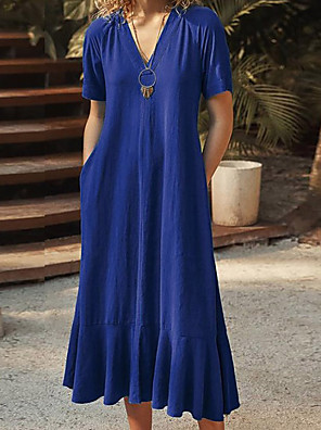 cheap Casual Dresses-Women's A-Line Dress Midi Dress - Short Sleeves Solid Color Summer Casual Chinoiserie 2020 Wine Black Blue Brown S M L XL XXL