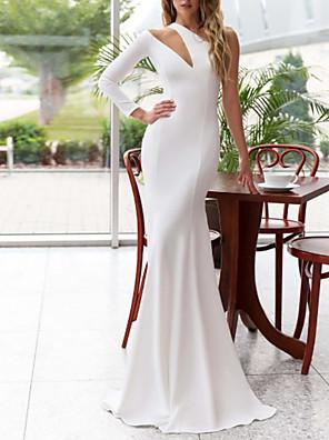 cheap Evening Dresses-Mermaid / Trumpet Elegant Minimalist Engagement Formal Evening Dress One Shoulder Long Sleeve Sweep / Brush Train Stretch Satin with Sleek 2020