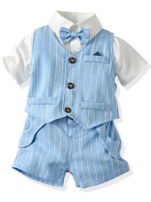 cheap Boys' Clothing Sets-Kids Toddler Boys' Basic Striped Short Sleeve Clothing Set Beige