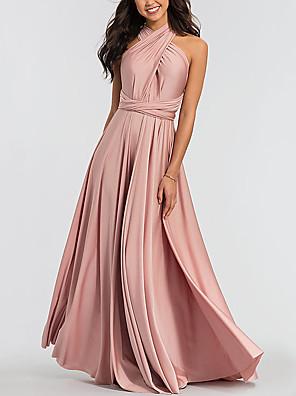 cheap Bridesmaid Dresses-A-Line Halter Neck Floor Length Chiffon Bridesmaid Dress with Pleats
