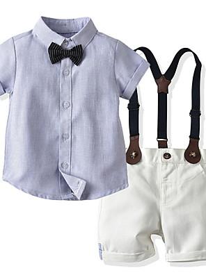 cheap Boys' Clothing Sets-Toddler Boys' Basic Color Block Short Sleeve Clothing Set Light Blue