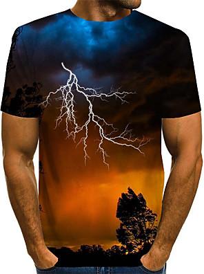 お買い得  メンズTシャツ&タンクトップ-男性用 Tシャツ グラフィック 自然风光 プリント 半袖 トップの ベーシック 誇張された ラウンドネック ブルー パープル イエロー