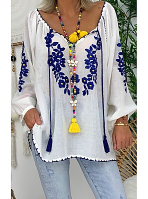 cheap Women's Blouses & Shirts-Women's Blouse Floral V Neck Tops Summer White Blue Red