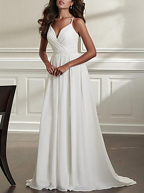 cheap Evening Dresses-A-Line Wedding Dresses Spaghetti Strap Sweep / Brush Train Chiffon Over Satin Sleeveless Simple Beach Sexy Backless with Ruched 2020