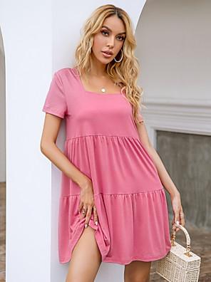 cheap Mini Dresses-Women's Sundress Short Mini Dress - Short Sleeve Solid Color Summer Square Neck Casual Loose 2020 Blushing Pink XS S M L