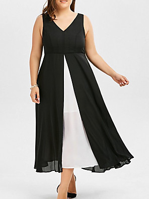 cheap Plus Size Dresses-Women's Chiffon Dress Midi Dress - Sleeveless Solid Color Summer Work Chinoiserie 2020 Black XL XXL XXXL XXXXL XXXXXL
