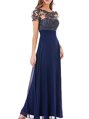 cheap Evening Dresses-Sheath / Column Mother of the Bride Dress Elegant Jewel Neck Floor Length Chiffon Lace Short Sleeve with Embroidery 2020