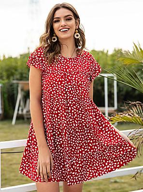 preiswerte Für Junge Frauen-Damen A-Linie Kleid Minikleid - Kurze Ärmel Geometrisch Druck Sommer Freizeit 2020 Rote S M L XL