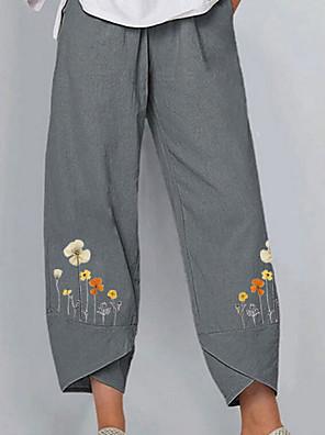 cheap Women's Pants-Women's Basic Daily Loose Chinos Pants - Floral Gray Light Blue S / M / L
