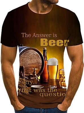 billige Herretopper-Herre T skjorte 3D-utskrift Grafisk Øl Store størrelser Flettet Trykt mønster Kortermet Daglig Topper Gatemote overdrevet Gul