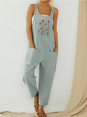 povoljno Ženski jednodijelni kostimi-Žene Sive boje Svjetloplav Jumpsuits Onesie, Cvjetni print S M L