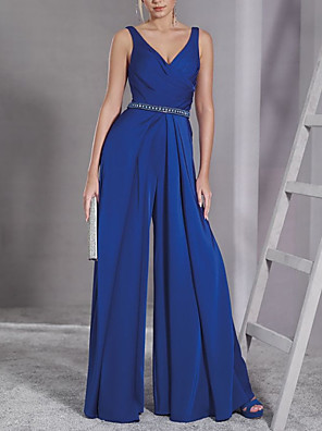 cheap Prom Dresses-Jumpsuits Elegant Minimalist Wedding Guest Prom Dress V Neck Sleeveless Floor Length Chiffon with Sash / Ribbon 2020