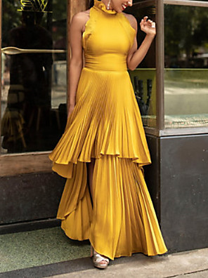 cheap Prom Dresses-Sheath / Column Elegant Maxi Party Wear Prom Dress High Neck Sleeveless Floor Length Satin with Pleats Ruffles Tier 2020