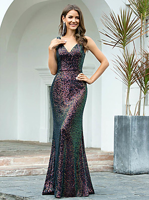 cheap Evening Dresses-Mermaid / Trumpet Sexy Sparkle Wedding Guest Formal Evening Dress V Neck Sleeveless Floor Length Sequined with Sequin 2020