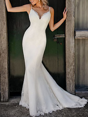 cheap Wedding Dresses-Mermaid / Trumpet Wedding Dresses V Neck Spaghetti Strap Sweep / Brush Train Lace Sleeveless Simple Sexy with Embroidery 2020