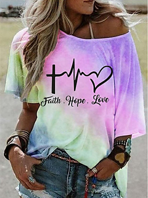 cheap Women's T-shirts-Women's T-shirt Tie Dye Round Neck Tops Summer Blue Purple Yellow