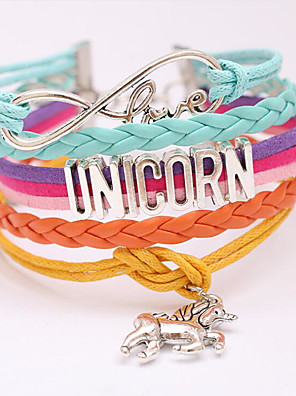 cheap Women's T-shirts-Women's Wrap Bracelet Stacking Stackable Horse Love Trendy Sweet Alloy Bracelet Jewelry Purple / Blushing Pink / Rainbow For Gift Prom Date Birthday Festival