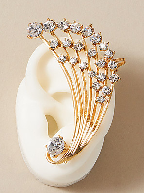 cheap Women's T-shirts-Women's Ear Cuff Earrings Classic Fashion Classic Elegant Trendy Sweet Fashion Imitation Diamond Earrings Jewelry Gold For Party Evening Gift Street Beach Festival 1pc