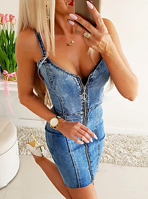 cheap Print Dresses-Women's Denim Dress Short Mini Dress - Sleeveless Solid Color Summer V Neck Casual Chinoiserie Slim 2020 Light Blue S M L XL XXL