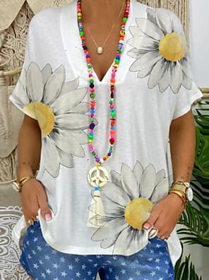 cheap Women's Blouses & Shirts-Women's T-shirt Floral V Neck Tops Summer White