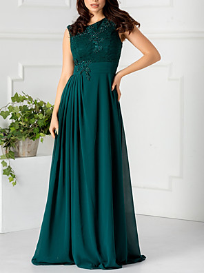 cheap Evening Dresses-A-Line Elegant Floral Engagement Formal Evening Dress Jewel Neck Sleeveless Floor Length Chiffon with Pleats Appliques 2020