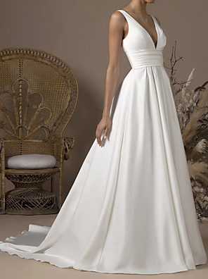 cheap Wedding Dresses-A-Line Wedding Dresses V Neck Sweep / Brush Train Satin Sleeveless Formal with Pleats 2020