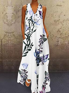 cheap For Young Women-Women's A-Line Dress Maxi long Dress - Sleeveless Floral Print Summer V Neck Plus Size Casual Holiday Vacation Loose 2020 White Blue Yellow S M L XL XXL XXXL XXXXL XXXXXL
