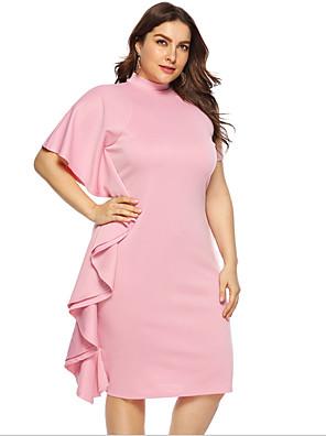 cheap Prom Dresses-Women's A-Line Dress Knee Length Dress - Short Sleeves Solid Color Summer Casual Chinoiserie 2020 Blushing Pink L XL XXL XXXL XXXXL