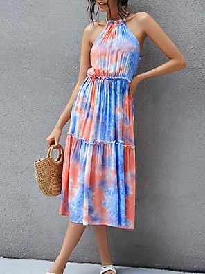 Χαμηλού Κόστους Για νεαρές γυναίκες-Γυναικεία Φόρεμα σε γραμμή Α Μίντι φόρεμα - Αμάνικο Δετοβαμένο Καλοκαίρι Καθημερινό 2020 Θαλασσί Τ M L XL