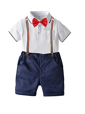 cheap Boys' Tops-Kids Boys' Basic Solid Colored Short Sleeve Clothing Set Red