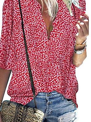 cheap Women's Blouses & Shirts-Women's Daily Blouse Geometric 3/4 Length Sleeve Tops V Neck Purple Red