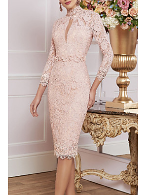 cheap Mother of the Bride Dresses-Sheath / Column Mother of the Bride Dress Plus Size High Neck Knee Length Lace 3/4 Length Sleeve with Appliques 2020
