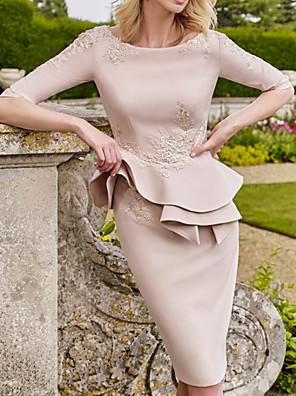 cheap Evening Dresses-Sheath / Column Mother of the Bride Dress Elegant Jewel Neck Knee Length Satin Half Sleeve with Ruffles Appliques 2020