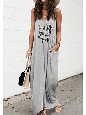 cheap Maxi Dresses-Women's Strap Dress Maxi long Dress - Sleeveless Letter Summer Casual 2020 Gray S M L XL XXL XXXL XXXXL