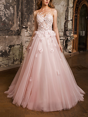 cheap Prom Dresses-A-Line Floral Luxurious Engagement Formal Evening Dress Illusion Neck Sleeveless Floor Length Lace Tulle with Pleats Appliques 2020