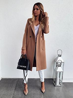 cheap Women's Coats & Trench Coats-Women's Coat Daily Regular Solid Colored Black / Khaki / Gray S / M / L