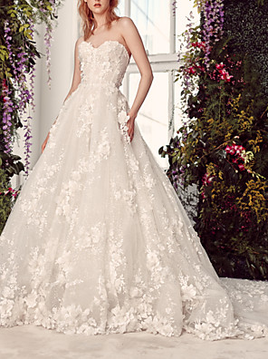 cheap Prom Dresses-Ball Gown Wedding Dresses Strapless Sweep / Brush Train Lace Tulle Sleeveless Formal with Appliques 2020