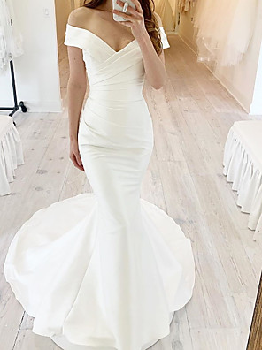 cheap Wedding Dresses-Mermaid / Trumpet Wedding Dresses Off Shoulder Sweep / Brush Train Chiffon Over Satin Short Sleeve Simple with Ruched 2020